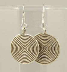 Hill Tribe Silver Concentric Circles Disk Earrings