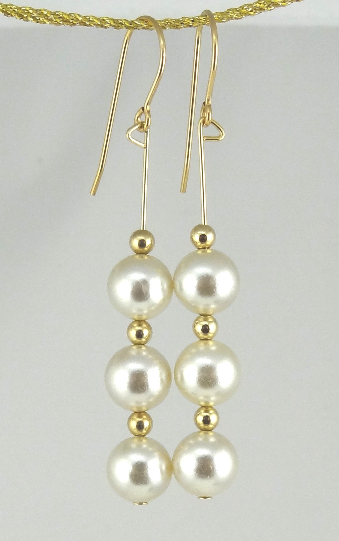 Linear Gold & Pearl Drop Earrings