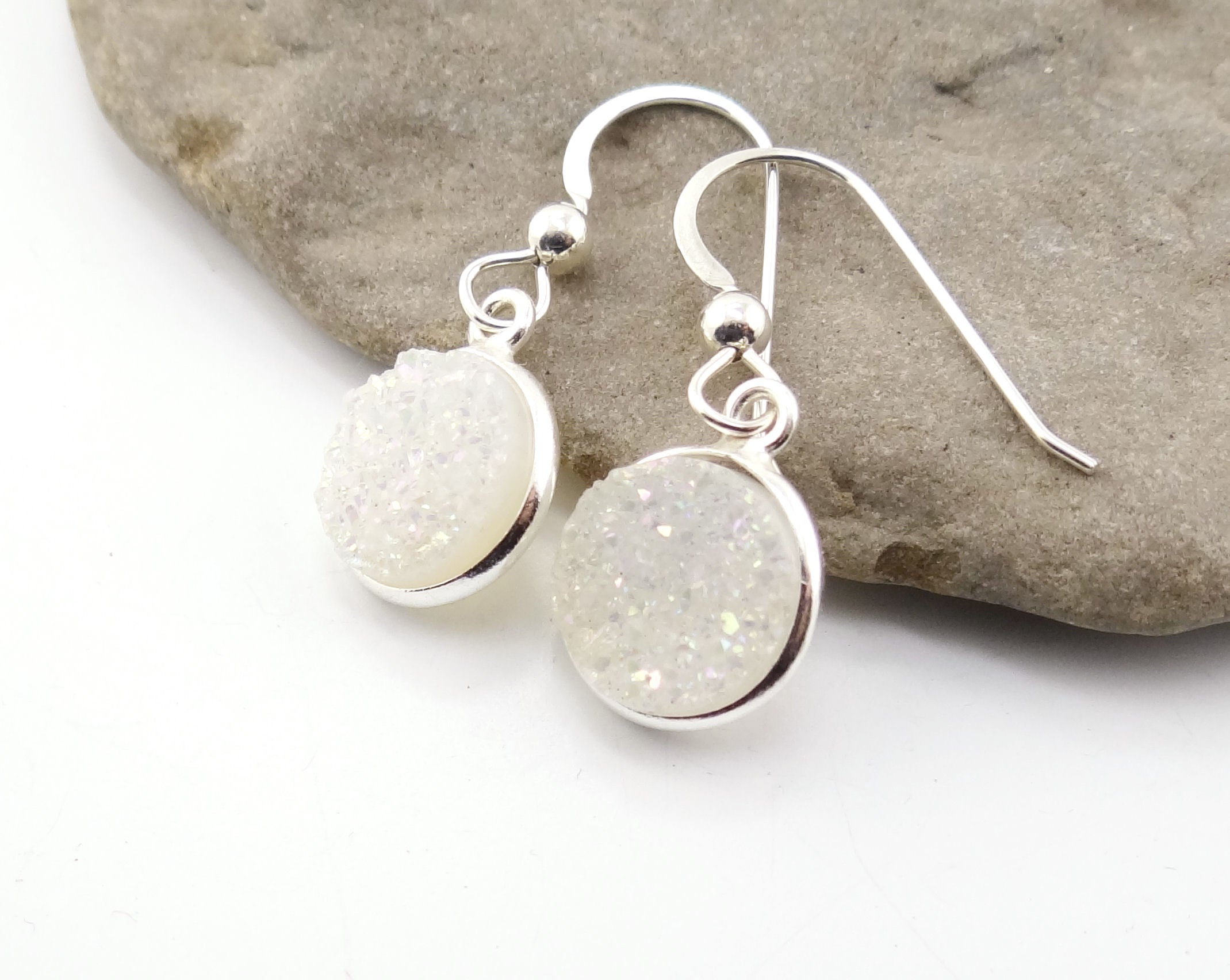 Round Druzy Earrings Iridescent Opal With Silver Trim