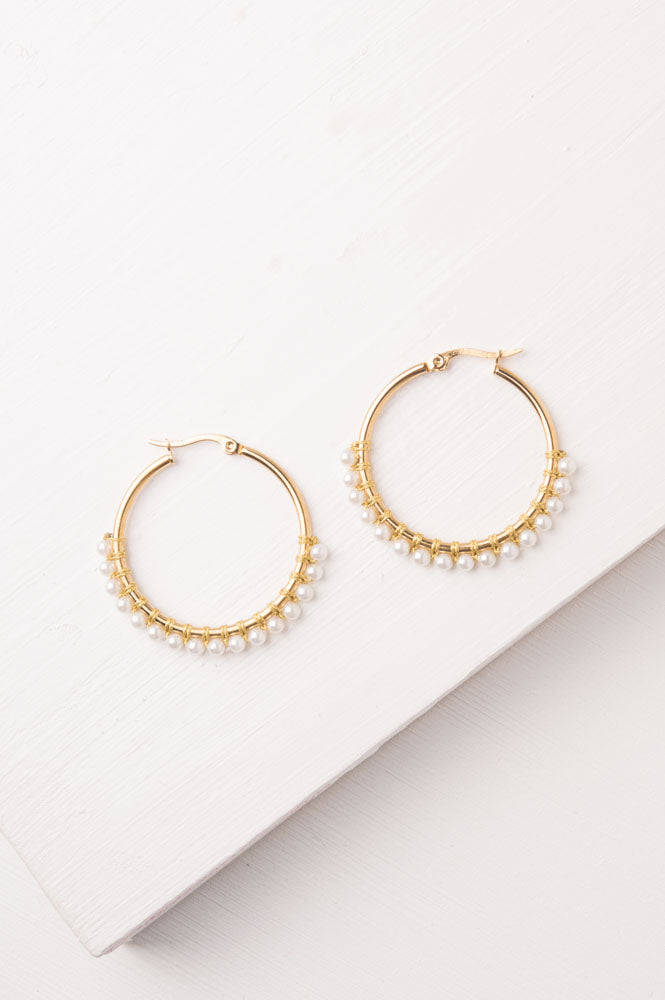 Maddie White Gold & Pearl Hoop Earrings