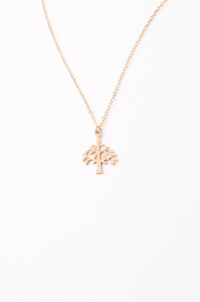 Tree Pendant Necklace Gold