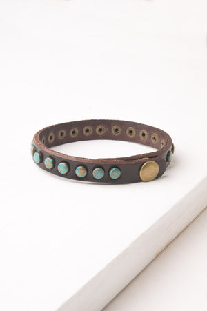 Hazel Brown Leather & Brass Bracelet