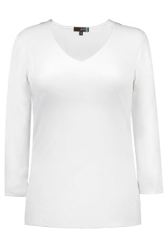 Relaxed V Neck 3/4 Sleeve Shirt