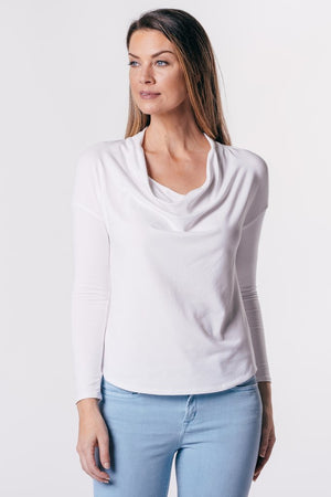 Long Sleeve Drape Neck Shirt