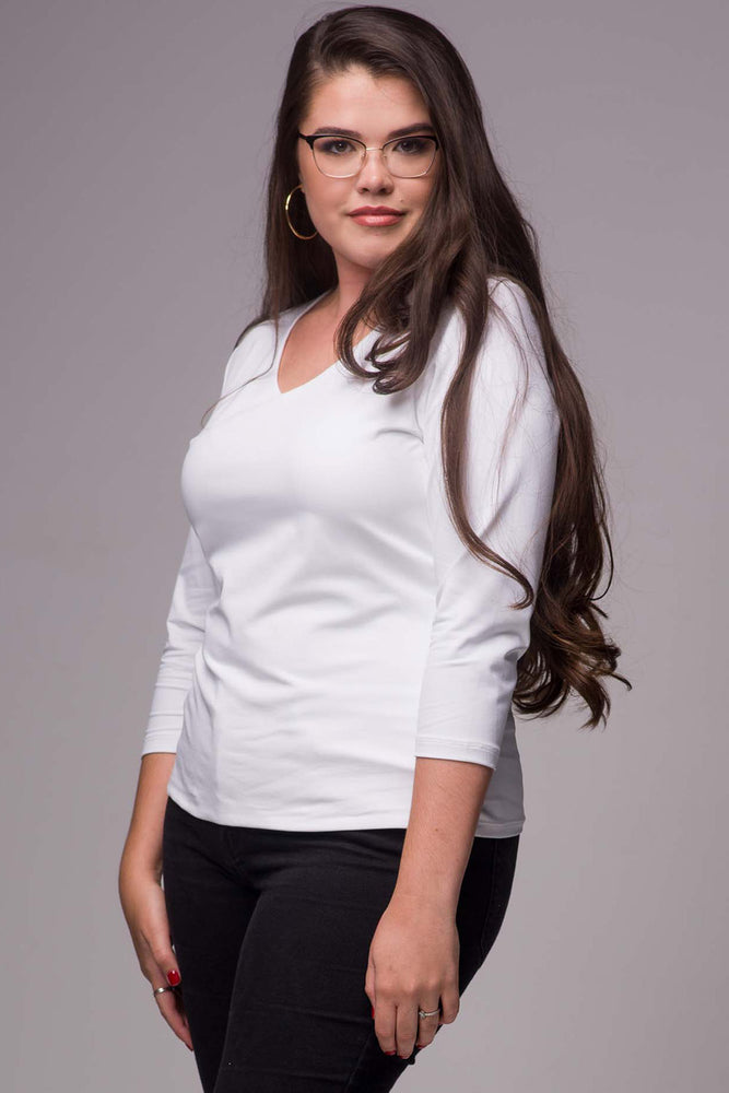 V Neck 3/4 Sleeve Shirt