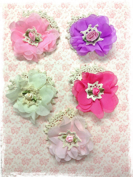 Baby & girl pink, purple or ivory floral non slip hair clip. clip99