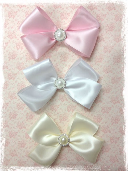 Baby & girl satin baby pink, ivory or white bow non slip hair clip. clip100