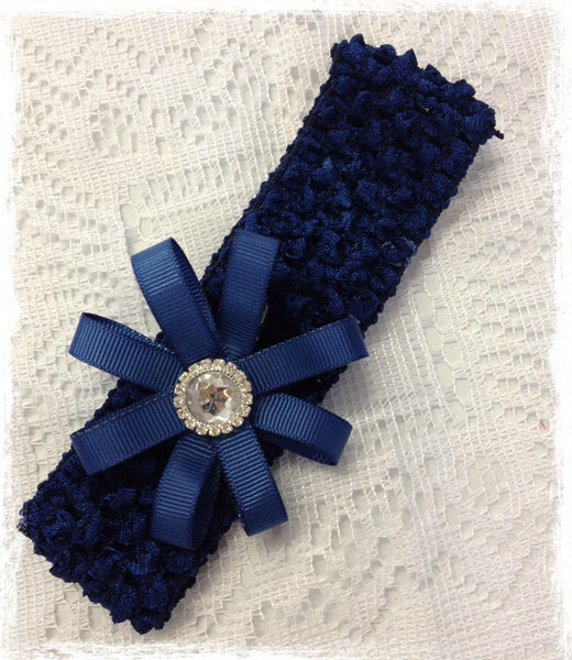 NAVY BLUE RIBBON FLOWER HEADBAND BRGN20