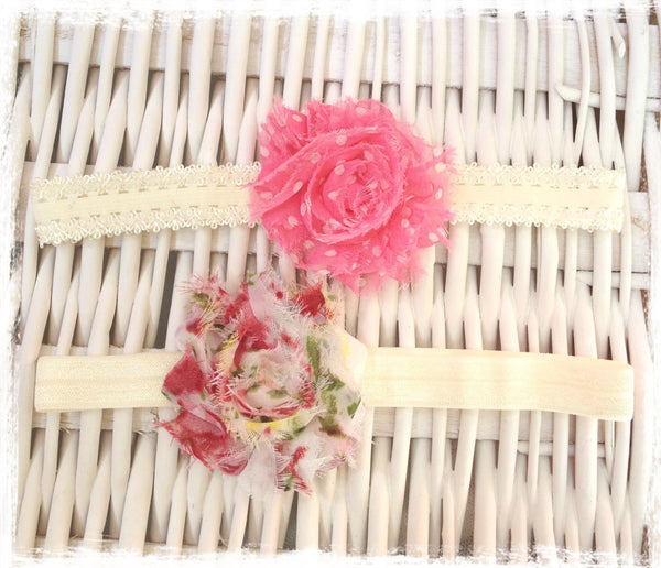 Baby & girl shabby flower headband. BRGN22