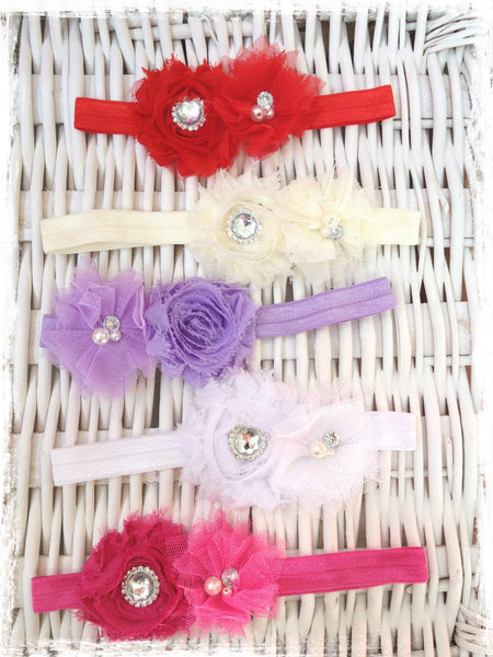 Baby & girl shabby flower headband. BRGN30