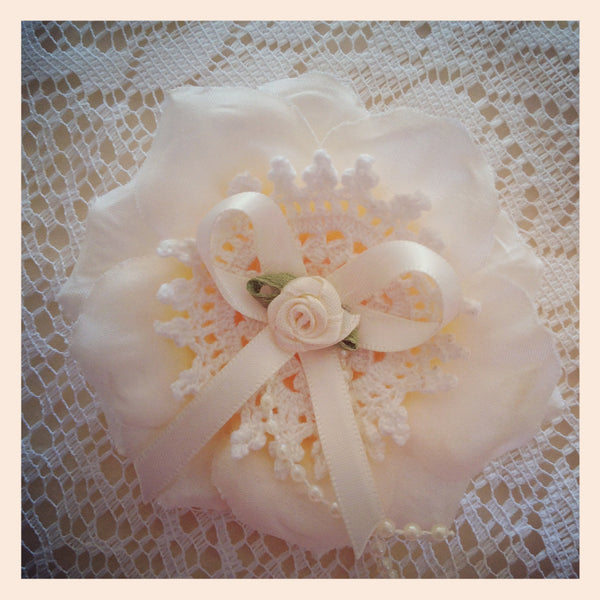 Baby girl lady ivory or white vintage flower non slip hair clip christening flower girl.clip26