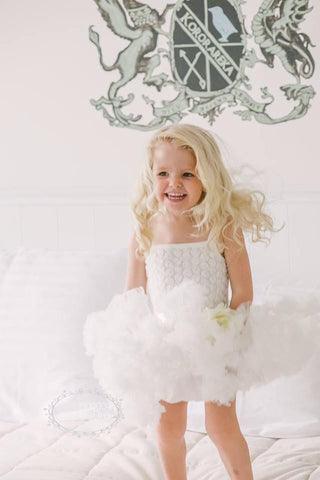 Baby & girl white or light ivory pettiskirt tutu dress. TUFW80