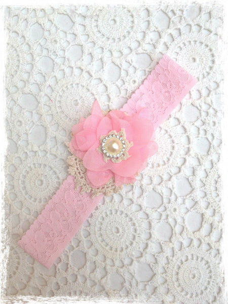 Baby, girl, lady pink, ivory or white christening flower girl bridal fascinator flower headband FLHD65