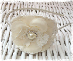 Baby, girl, lady white or ivory christening flower girl bridal fascinator Alice flower headband FLHD62