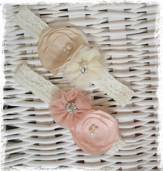 Baby, girl, lady cream or pink christening flower girl bridal fascinator flower headband FLHD28