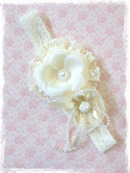 Baby, girl, lady ivory or white christening flower girl bridal fascinator flower headband FLHD32
