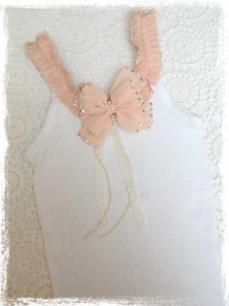 Baby to girl white and peach pink vintage inspired singlet tank top.SINGLET45