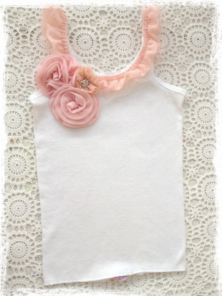 Baby to girl white and pink vintage inspired singlet tank top.SINGLET52