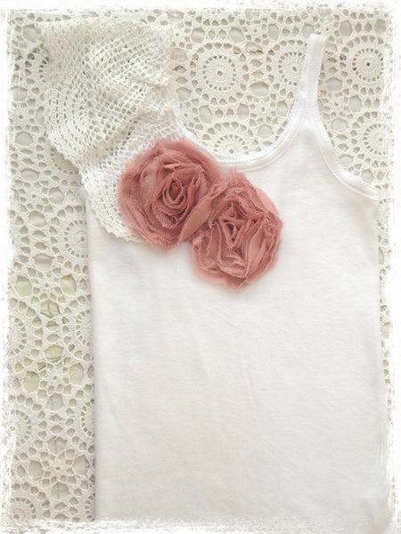 Baby, Girl & Lady rose pink & white vintage inspired singlet tank top.SINGLET55