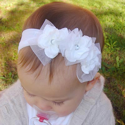 white baby, girl, lady vintage christening flower girl bridal flower headband FLHD05