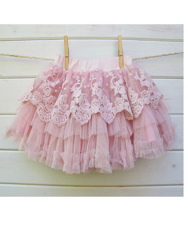 Baby & Girl Pink or Ivory lace Layered Tutu