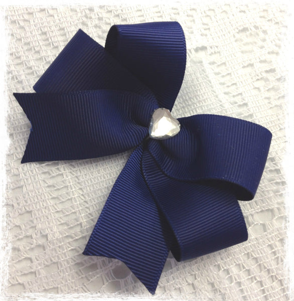 Baby & girl school navy blue grosgrain bow non slip hair clip.clip91