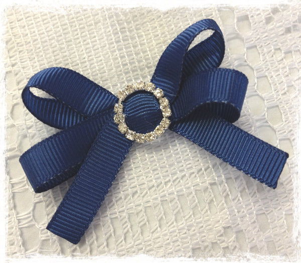 Baby & Girl Navy Grosgrain Bow Non-slip Hair Clip. Clip98