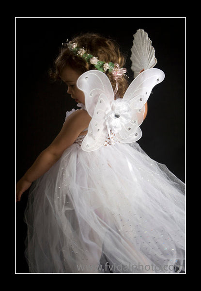 Baby, Girl, Lady, White fairy wings with white or ivory peonie flowers. Wings01