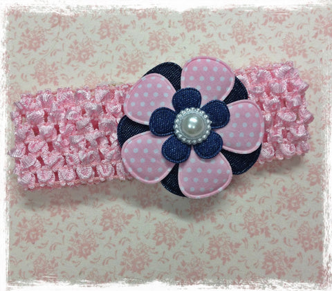 PINK AND NAVY BLUE FLOWER HEADBAND BRGN29