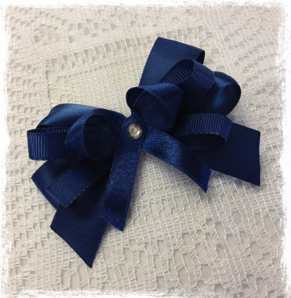 Baby & girl navy blue non slip ribbon hair clip. clip103