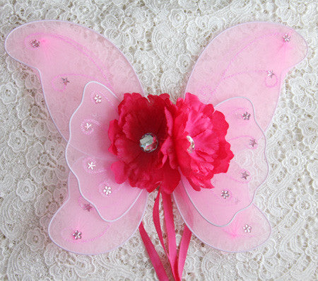 baby, girl, lady pink fairy wings with baby pink or hot pink peonie flowers. Wings02