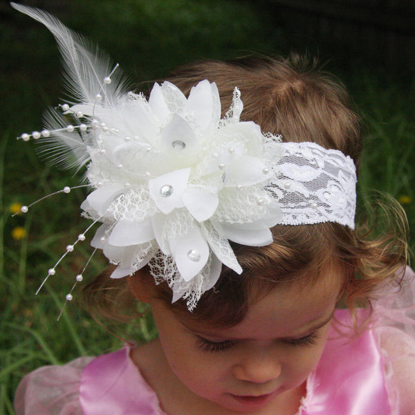 ivory baby, girl or lady vintage christening flower girl bridal fascinator headband FLHD06