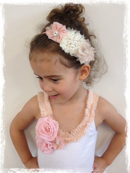 Girl & lady ivory or rose pink vintage christening flower girl bridal fascinator pearl flower headband FLHD52