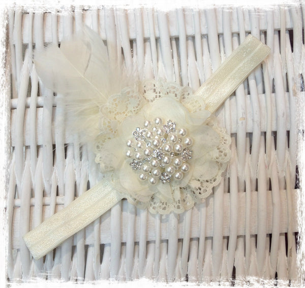 Baby, girl, lady ivory or white christening flower girl bridal fascinator flower headband FLHD55