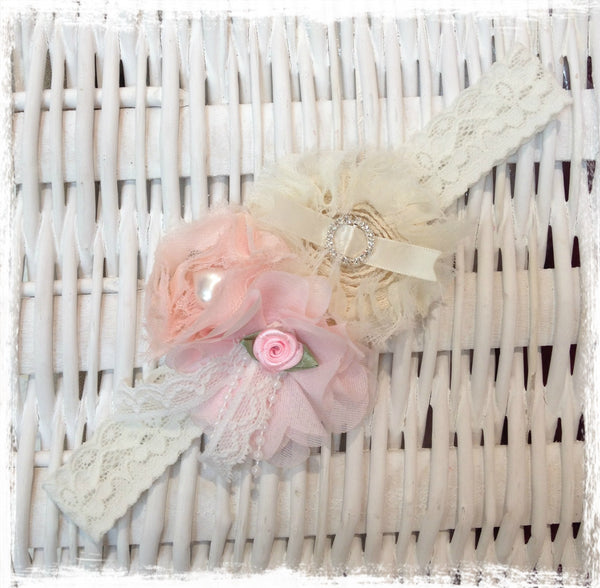 Baby, girl, lady pink and ivory christening flower girl bridal fascinator flower headband FLHD34