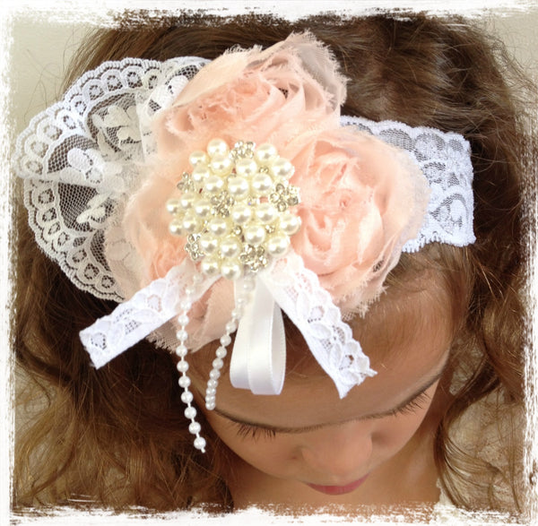 Baby, girl, lady white or pink christening flower girl bridal fascinator flower headband FLHD26