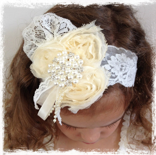 baby, girl, lady white or ivory christening flower girl bridal fascinator flower headband FLHD14