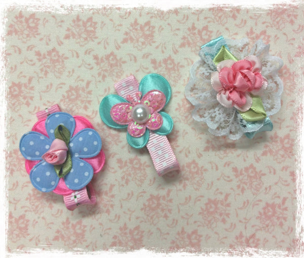 Baby & Girl pink and blue floral non slip hair clip. clip106