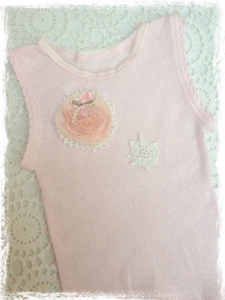 Baby to girl pink vintage inspired singlet tank top.SINGLET38