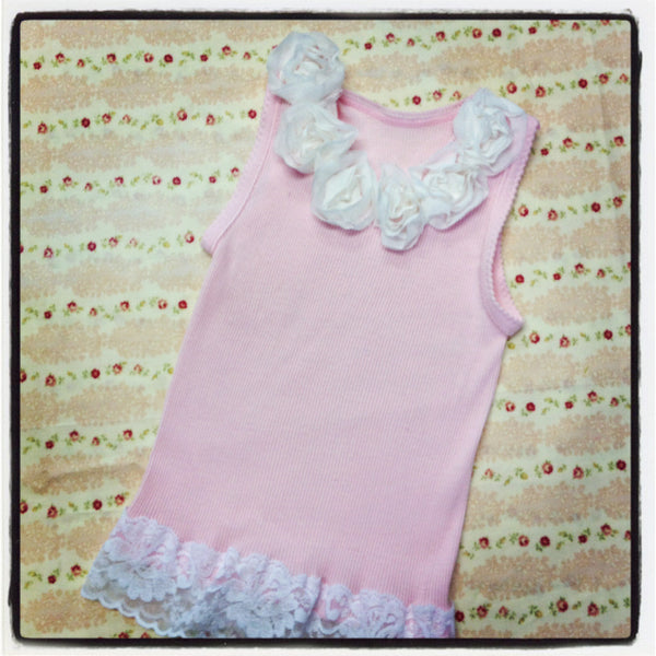 Baby to girl  white & pink top vintage inspired singlet tank top.SINGLET04