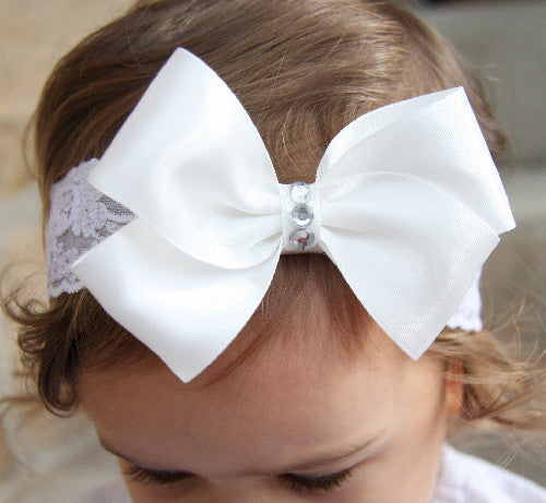 Baby, girl, lady white or ivory or pink christening flower girl bridal fascinator vintage bow headband BWHD17