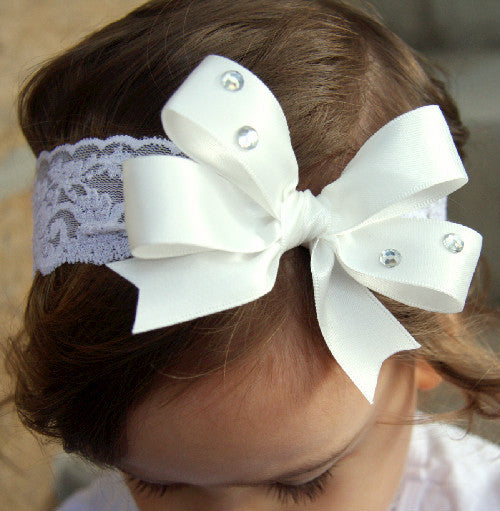 Baby, girl, lady white or ivory or pink christening flower girl bridal fascinator vintage bow headband BWHD06