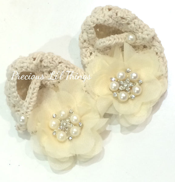 Newborn to one year beige crochet flower booties