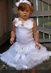 Baby to tween white top with white, ivory or pink bow & brooch vintage inspired singlet tank top.SINGLET07