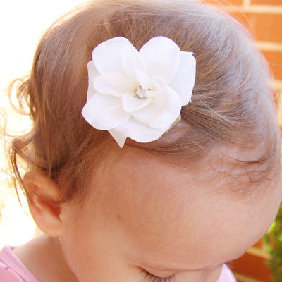 Baby & girl ivory or white rose hair clip - Clip27