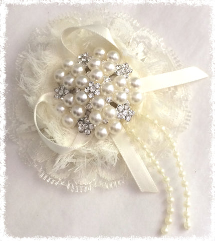 Ivory, White or Pink Pearl Hair Clip