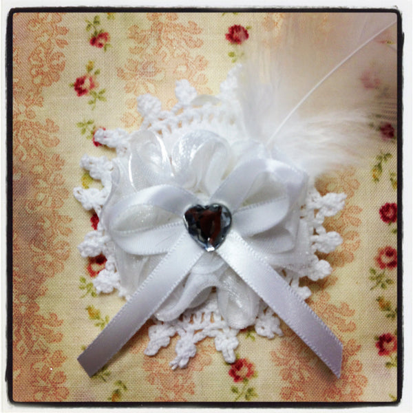 Baby girl lady white vintage  flower non slip hair clip christening flower girl.clip39