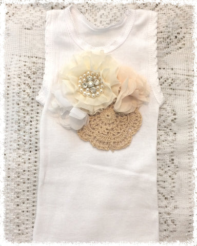 Handmade Newborn to Toddler crochet and flower vintage inspired singlet tank top