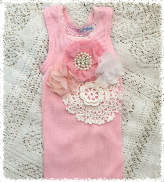 Handmade Newborn to Toddler flower, pearl and lace vintage inspired pink singlet tank top