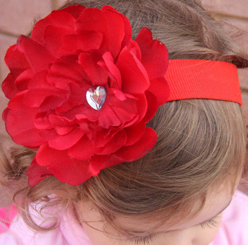 Peonie flower headband-CHOOSE COLOURS BRGN05
